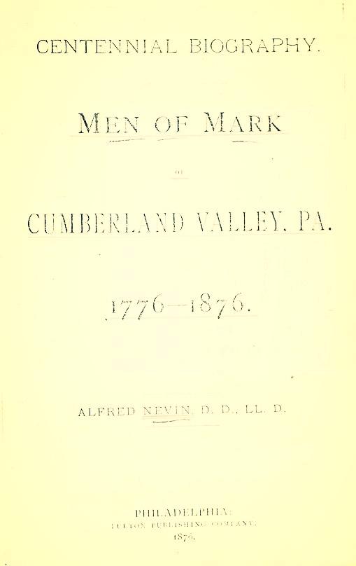 Nevin, Men of Mark of Cumberland Valley, PA.jpg