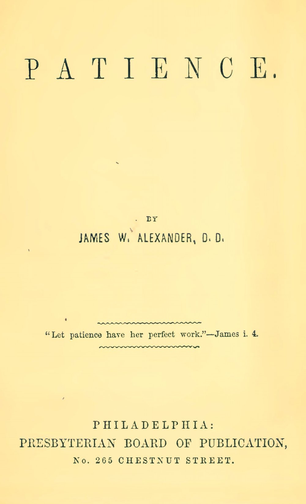 Alexander, James Waddel, Patience Title Page.jpg