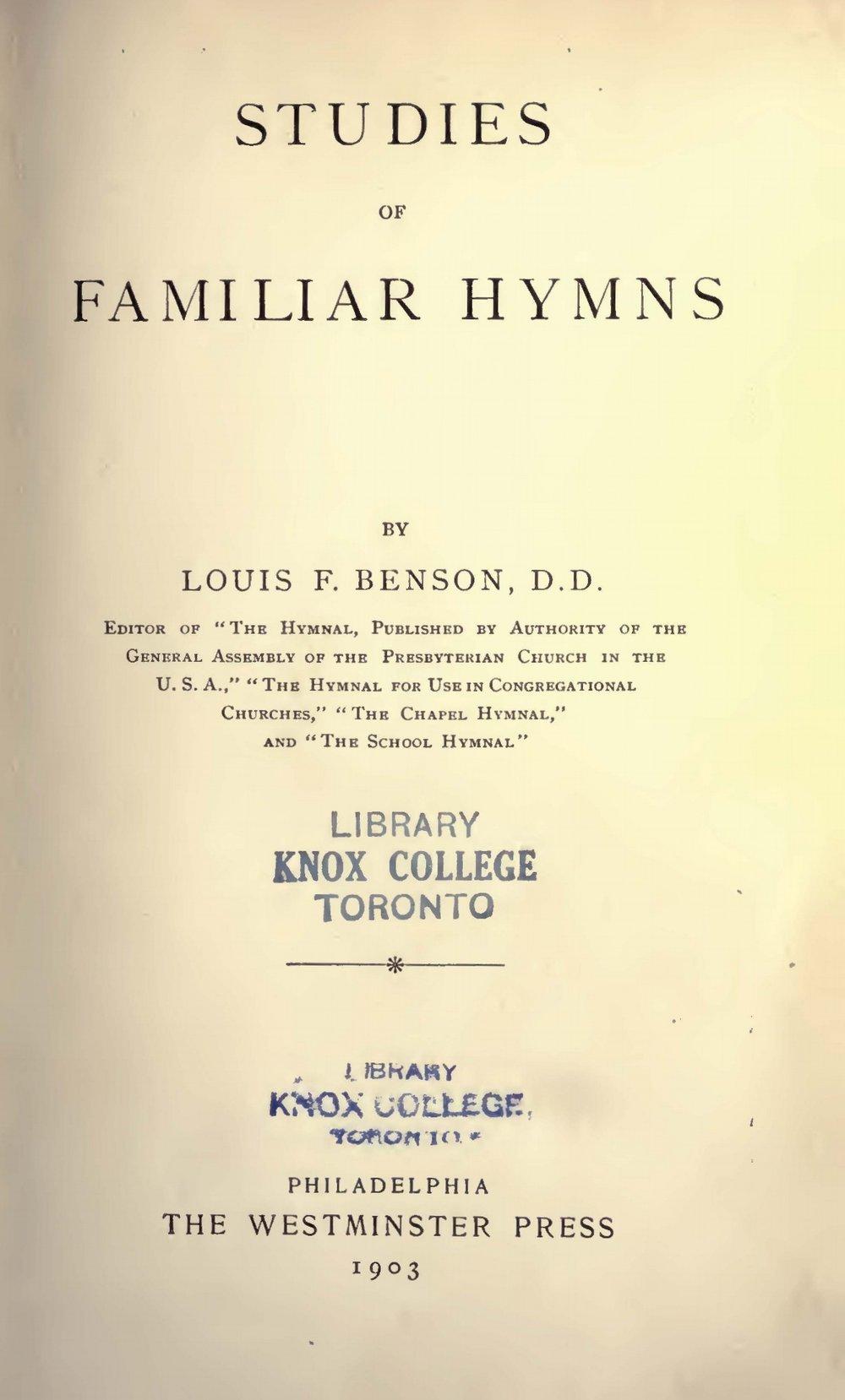 Benson, Louis FitzGerald, Studies of Familiar Hymns Title Page.jpg