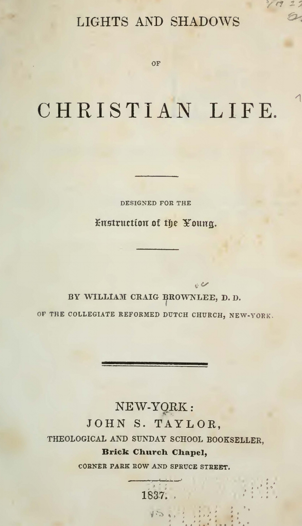 Brownlee, William Craig, Lights and Shadows of Christian Life Title Page.jpg