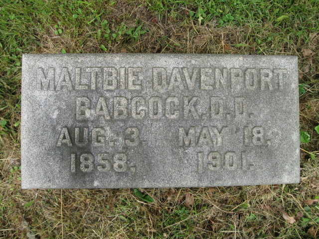 Maltbie Davenport Babcock is buried at Oakwood Cemetery, Syracuse, New York.