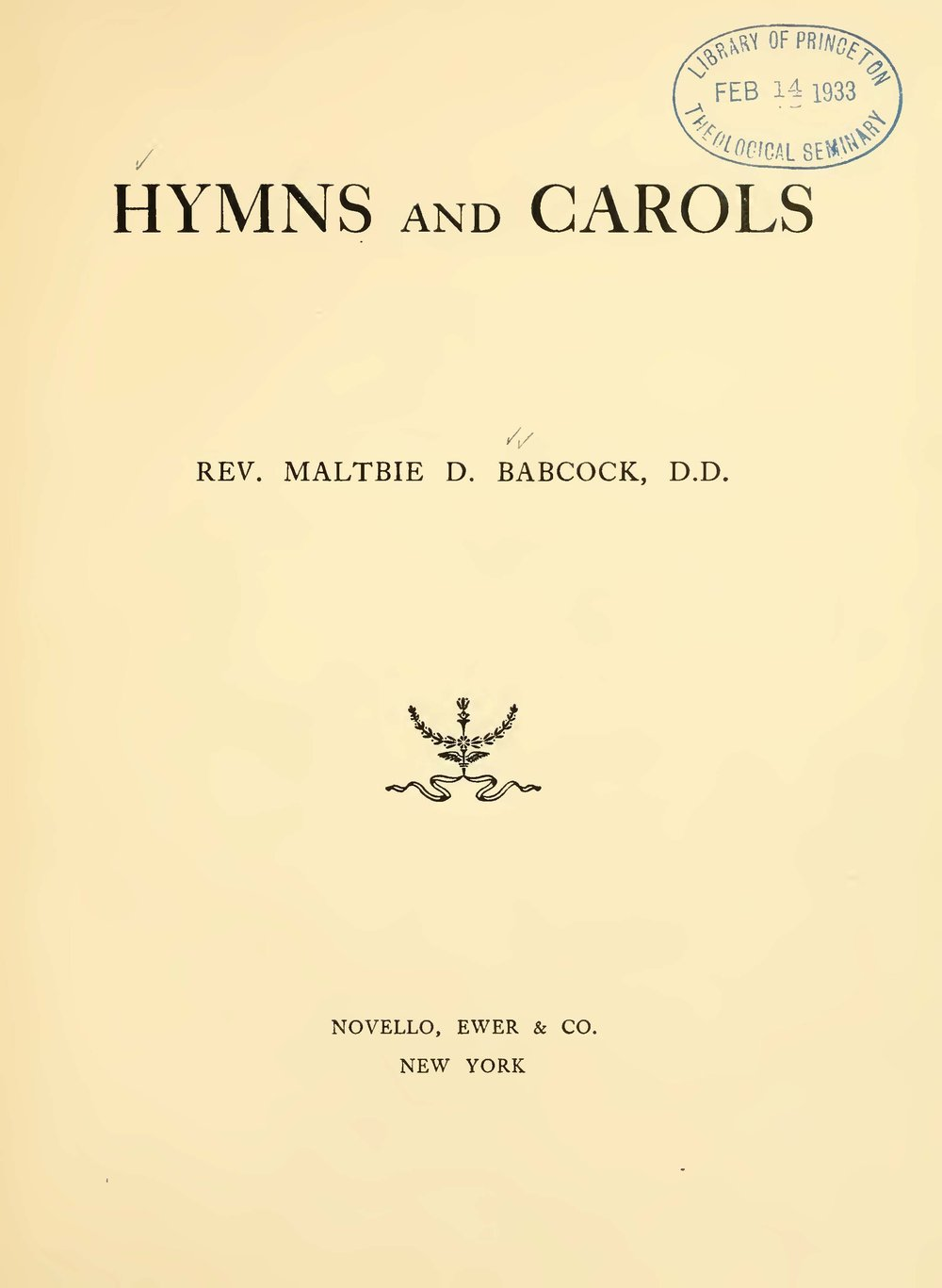 Babcock, Maltbie Davenport, Hymns and Carols Title Page.jpg