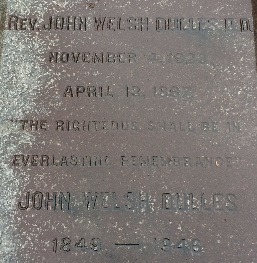John Welsh Dulles is buried at Laurel Hill Cemetery, Philadelphia, Pennsylvania.