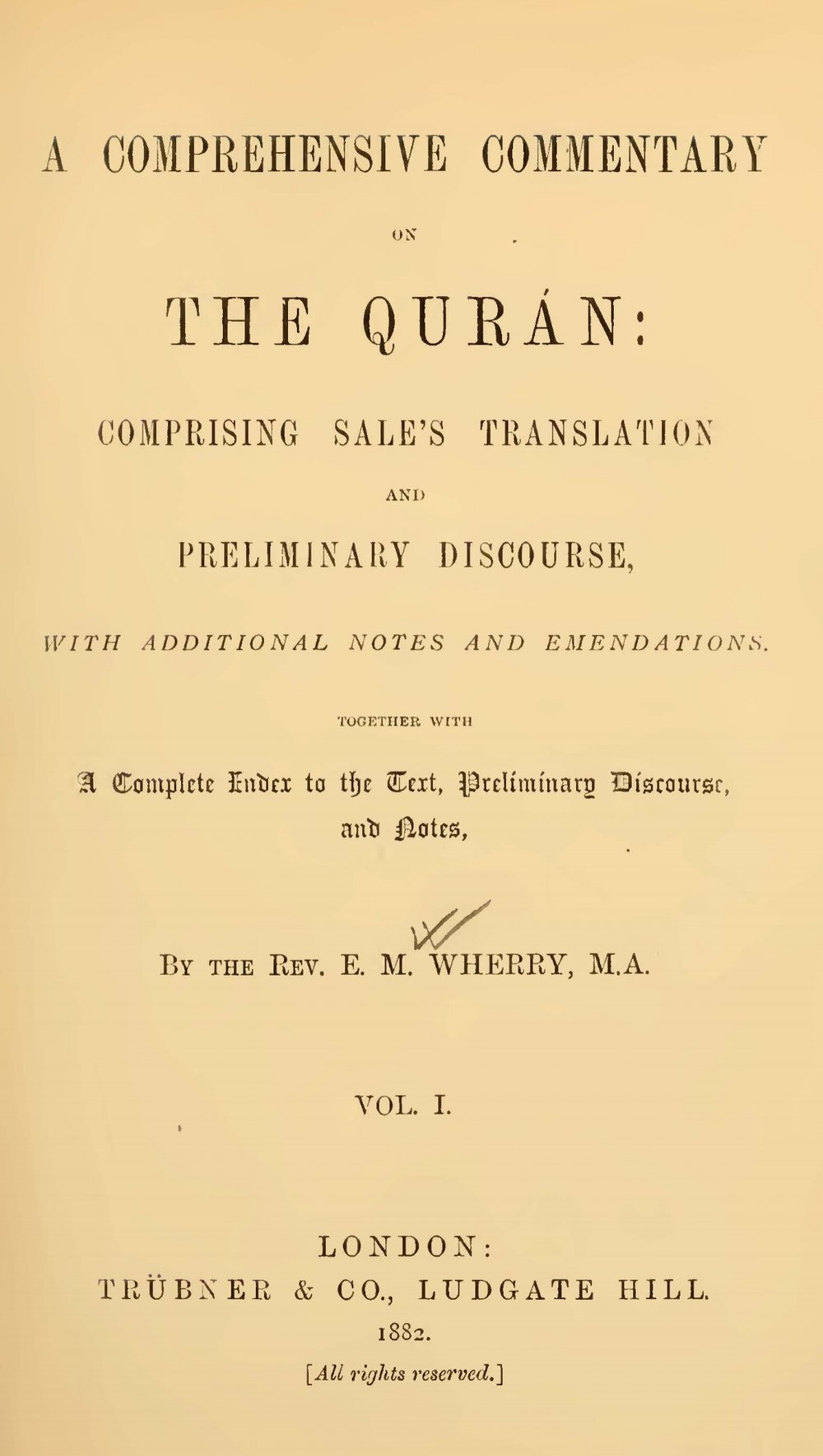 Wherry, Elwood Morris, A Comprehensive Commentary on the Quran, Vol. 1 Title Page.jpg
