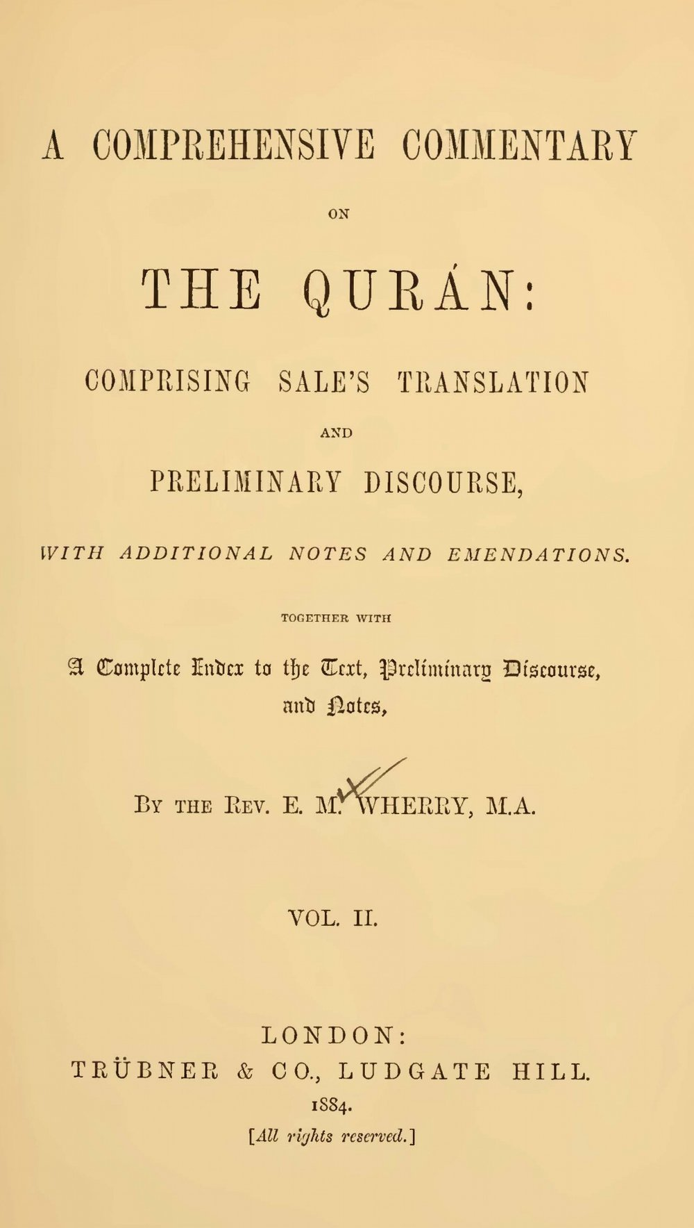 Wherry, Elwood Morris, A Comprehensive Commentary on the Quran, Vol. 2 Title Page.jpg