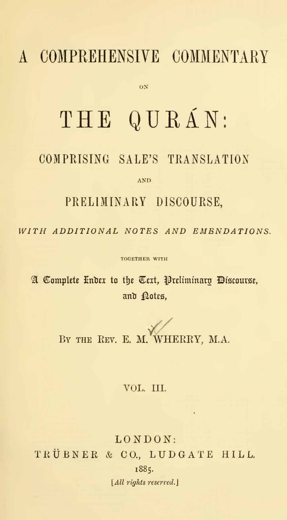 Wherry, Elwood Morris, A Comprehensive Commentary on the Quran, Vol. 3 Title Page.jpg
