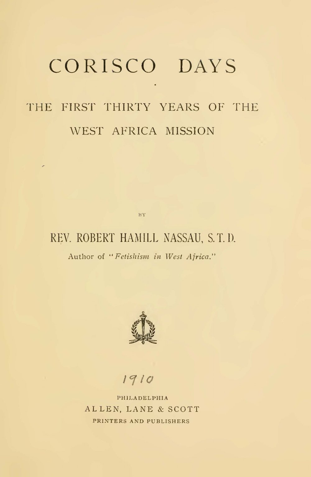 Nassau, Robert Hamill, Corisco Days Title Page.jpg