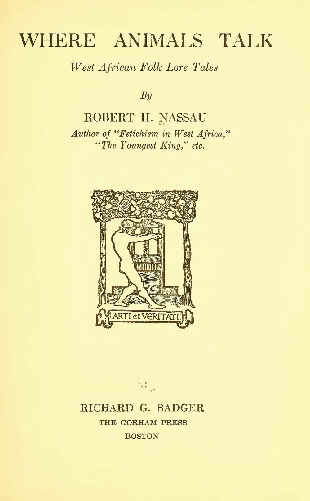 Nassau, Robert Hamill, Where Animals Talk Title Page.jpg