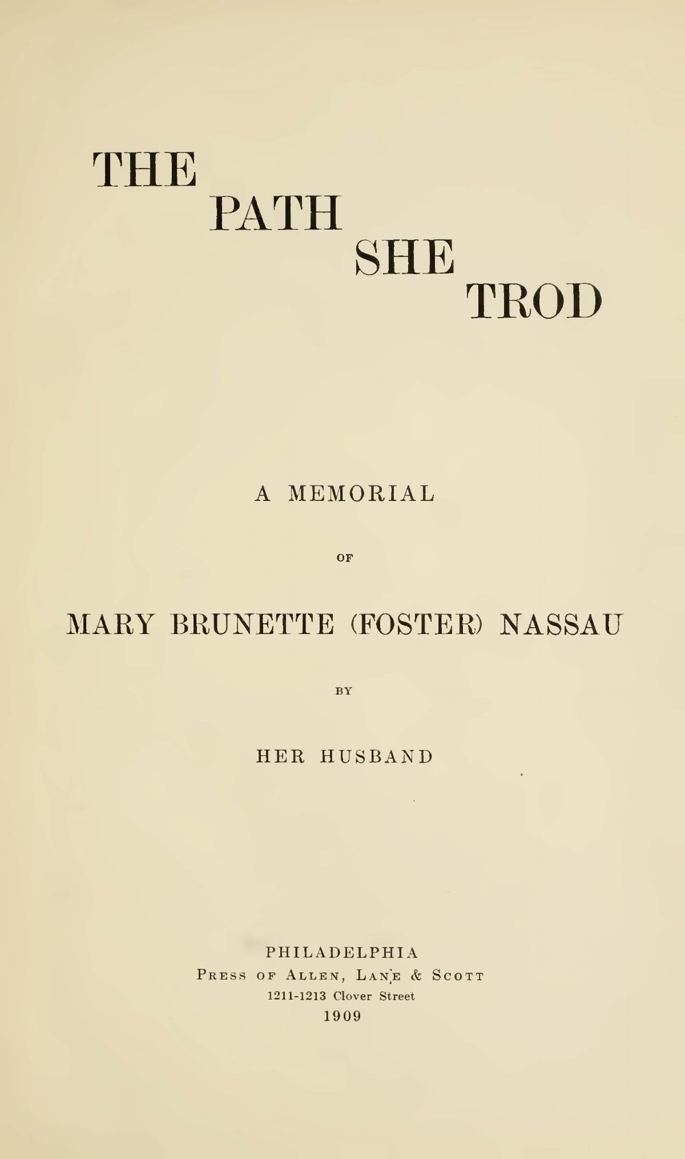 Nassau, Robert Hamill, The Path She Trod Title Page.jpg