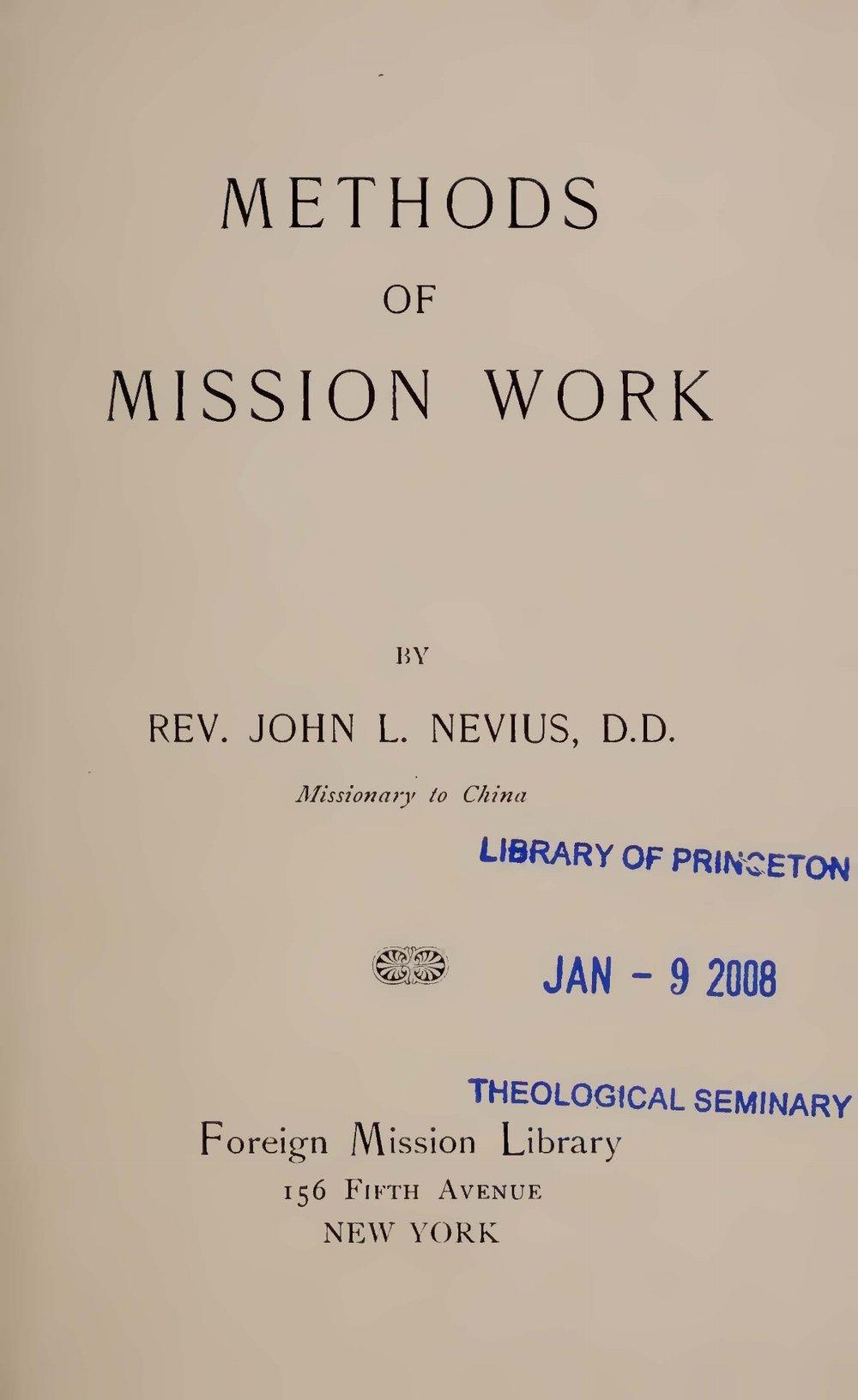 Nevius, John Livingston, Methods of Mission Work Title Page.jpg