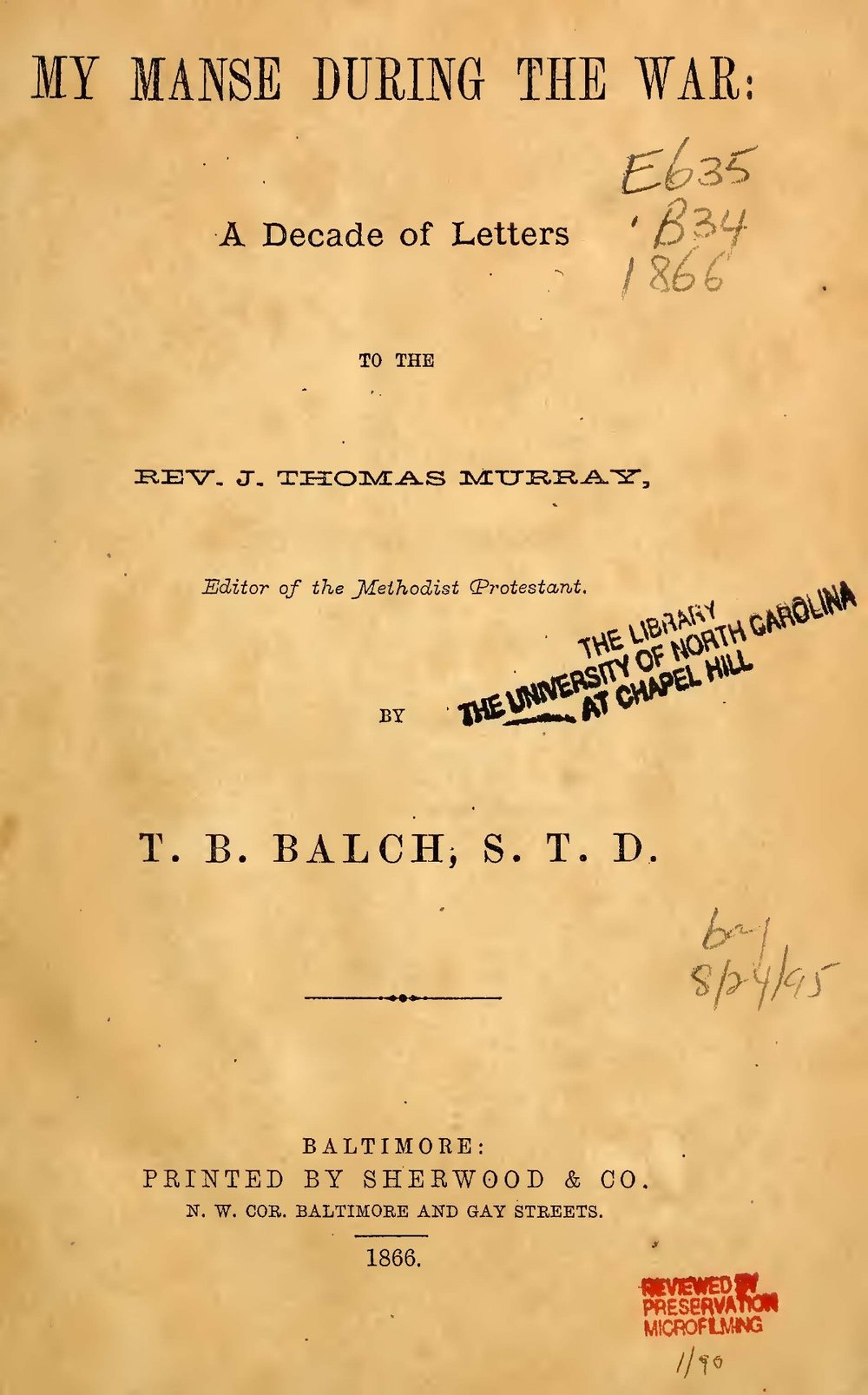 Balch, Thomas Bloomer, My Manse During the War Title Page.jpg