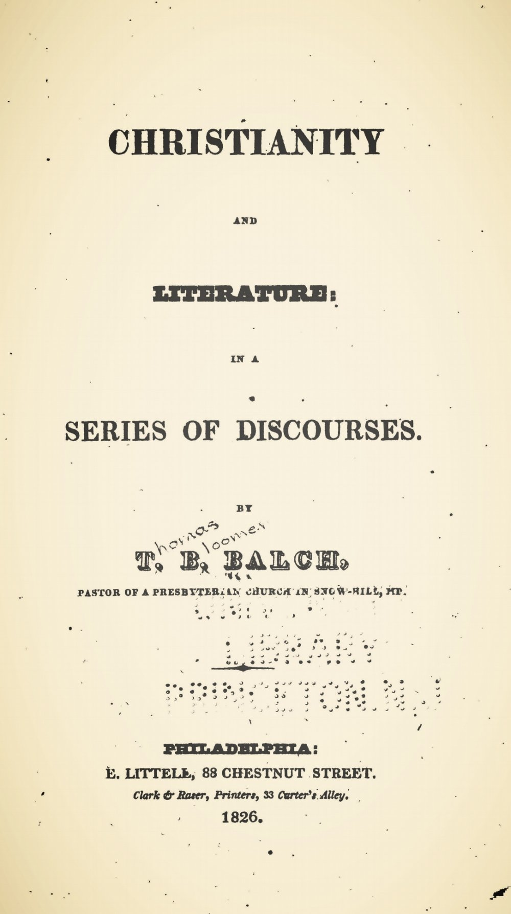 Balch, Thomas Bloomer, Christianity and Literature Title Page.jpg