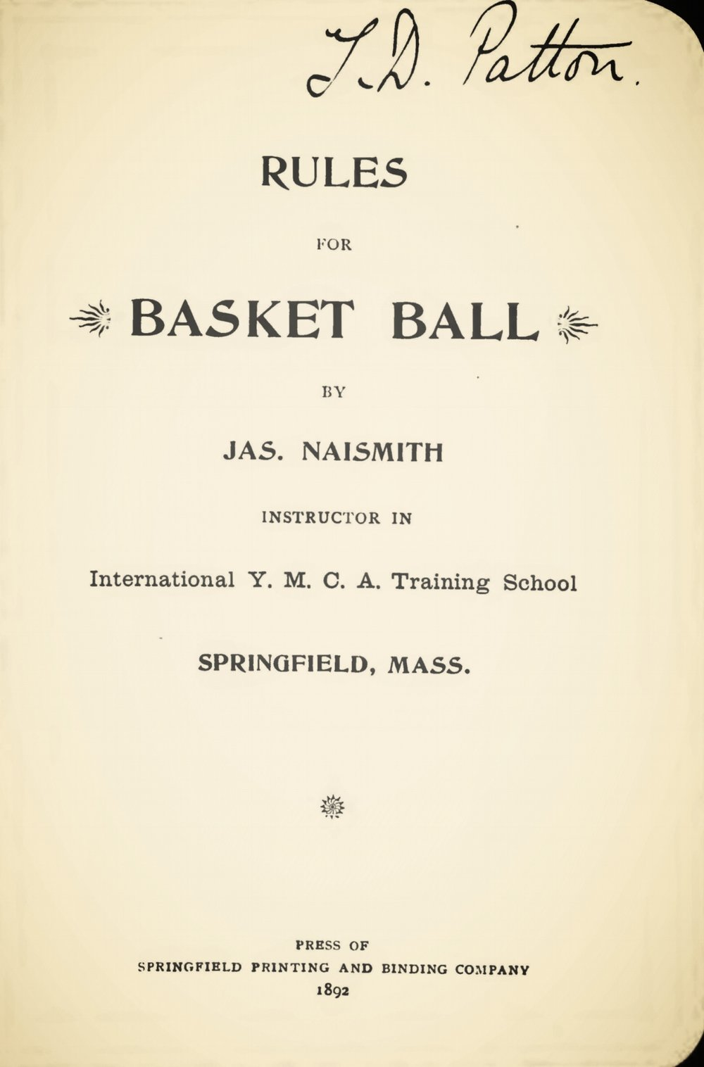 Naismith, James, Rules for Basket Ball Title Page.jpg