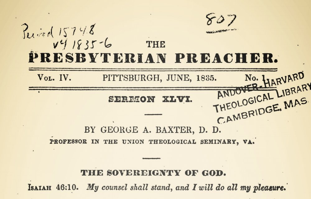 Baxter, George Addison, The Sovereignty of God Title Page.jpg