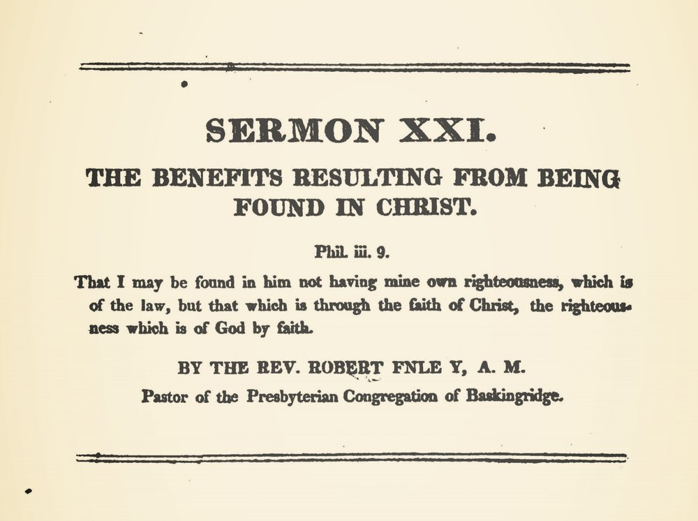 Finley, Robert, The Benefits Resulting From Being Found in Christ Title Page.jpg