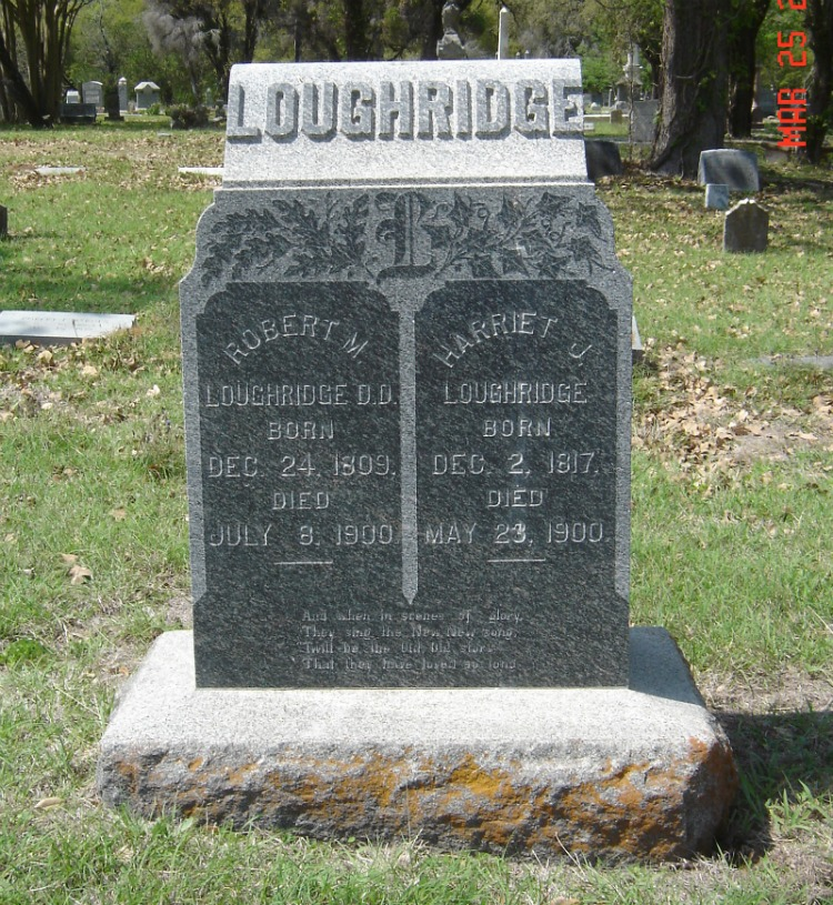 Robert McGill Loughridge is buried at Calvary Cemetery, Marlin, Texas.