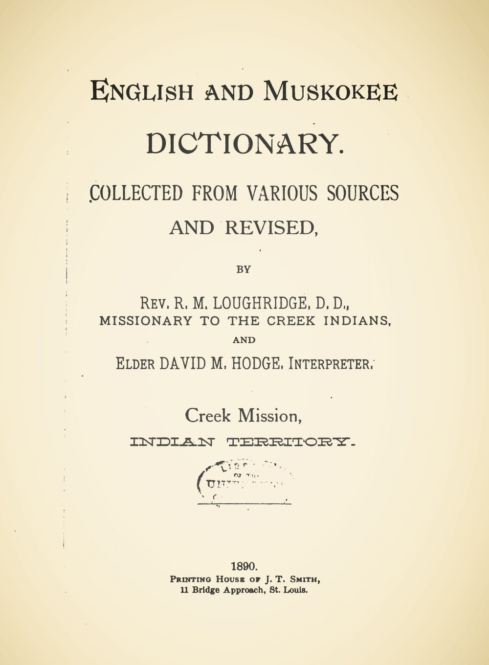Loughridge, Robert McGill, English and Muskokee Dictionary Title Page.jpg