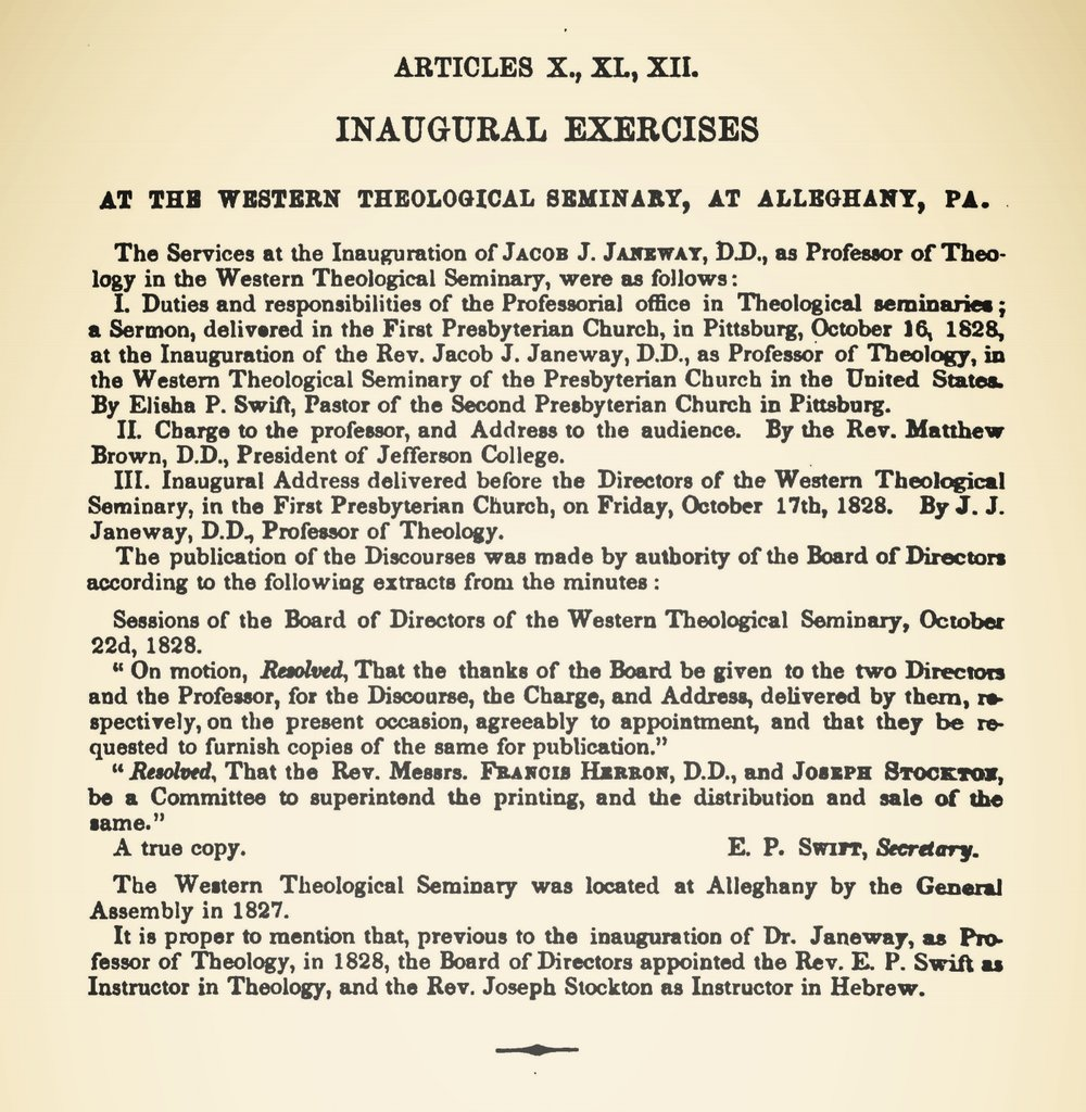 Janeway, Jacob Jones, Inaugural Address Title Page.jpg