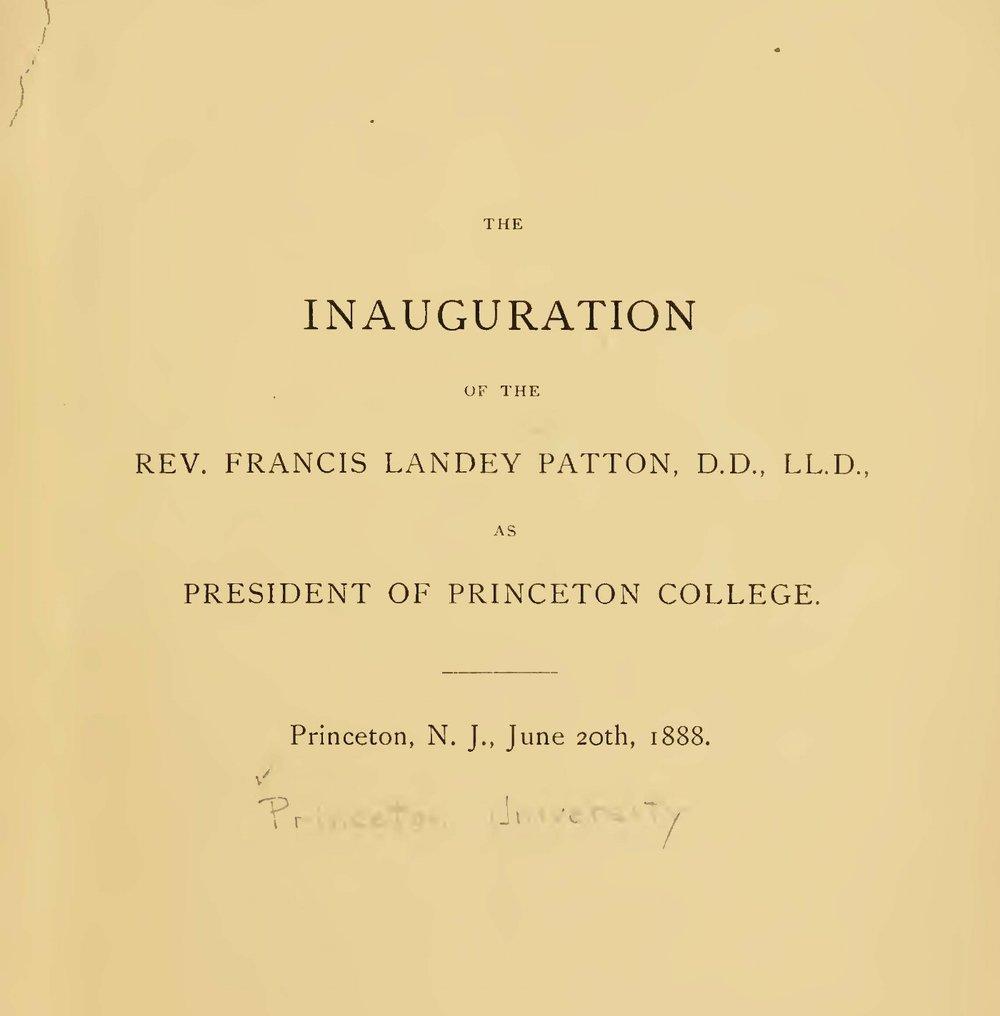 Patton, Francis Landey, Inaugural Address at Princeton College Title Page.jpg