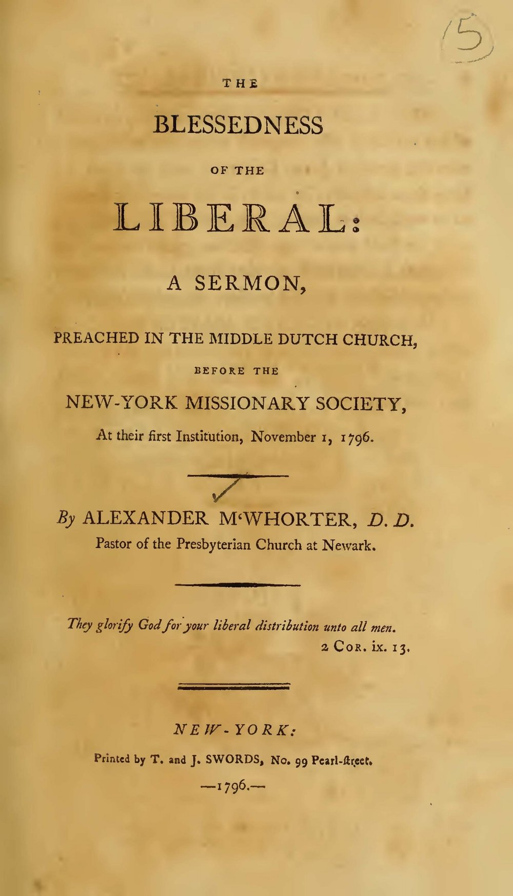 MacWhorter, Alexander, The Blessedness of the Liberal Title Page.jpg