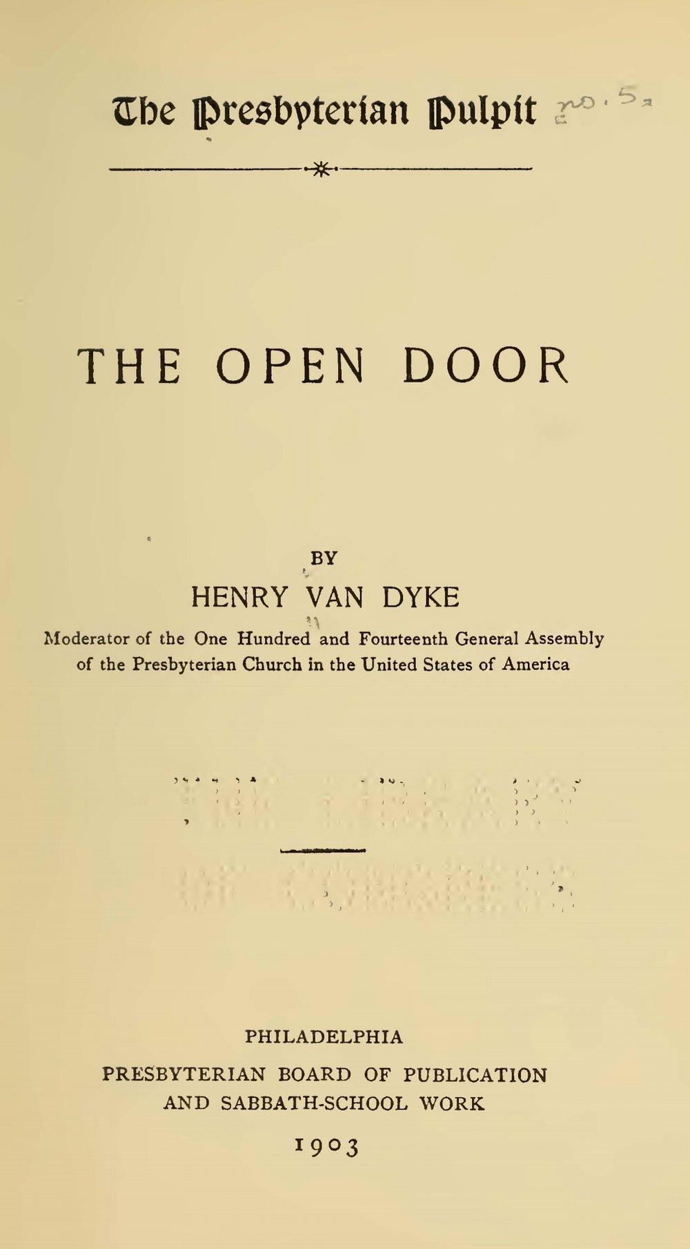 Van Dyke, Jr., Henry Jackson, The Open Door Title Page.jpg