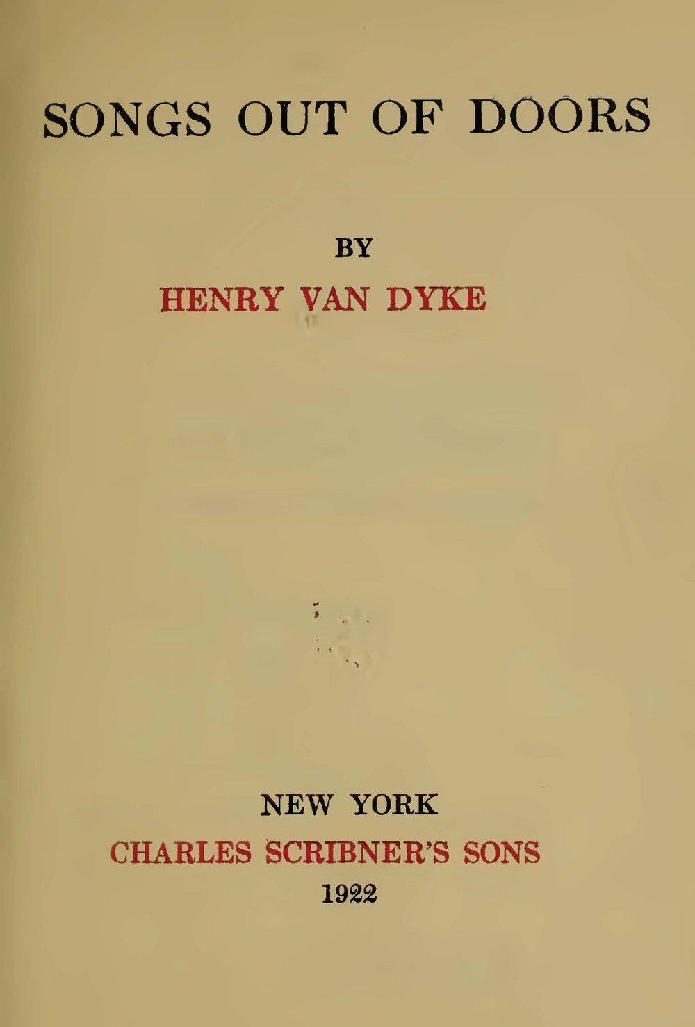 Van Dyke, Jr., Henry Jackson, Songs Out of Doors Title Page.jpg