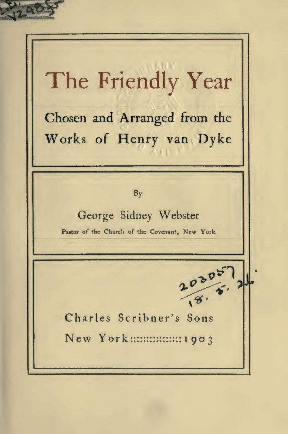 Van Dyke, Jr., Henry Jackson, The Friendly Year Title Page.jpg