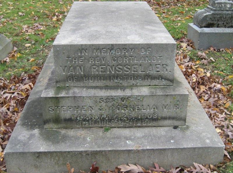 Cortlandt Van Rensselaer is buried at Albany Rural Cemetery, Menands, New York.