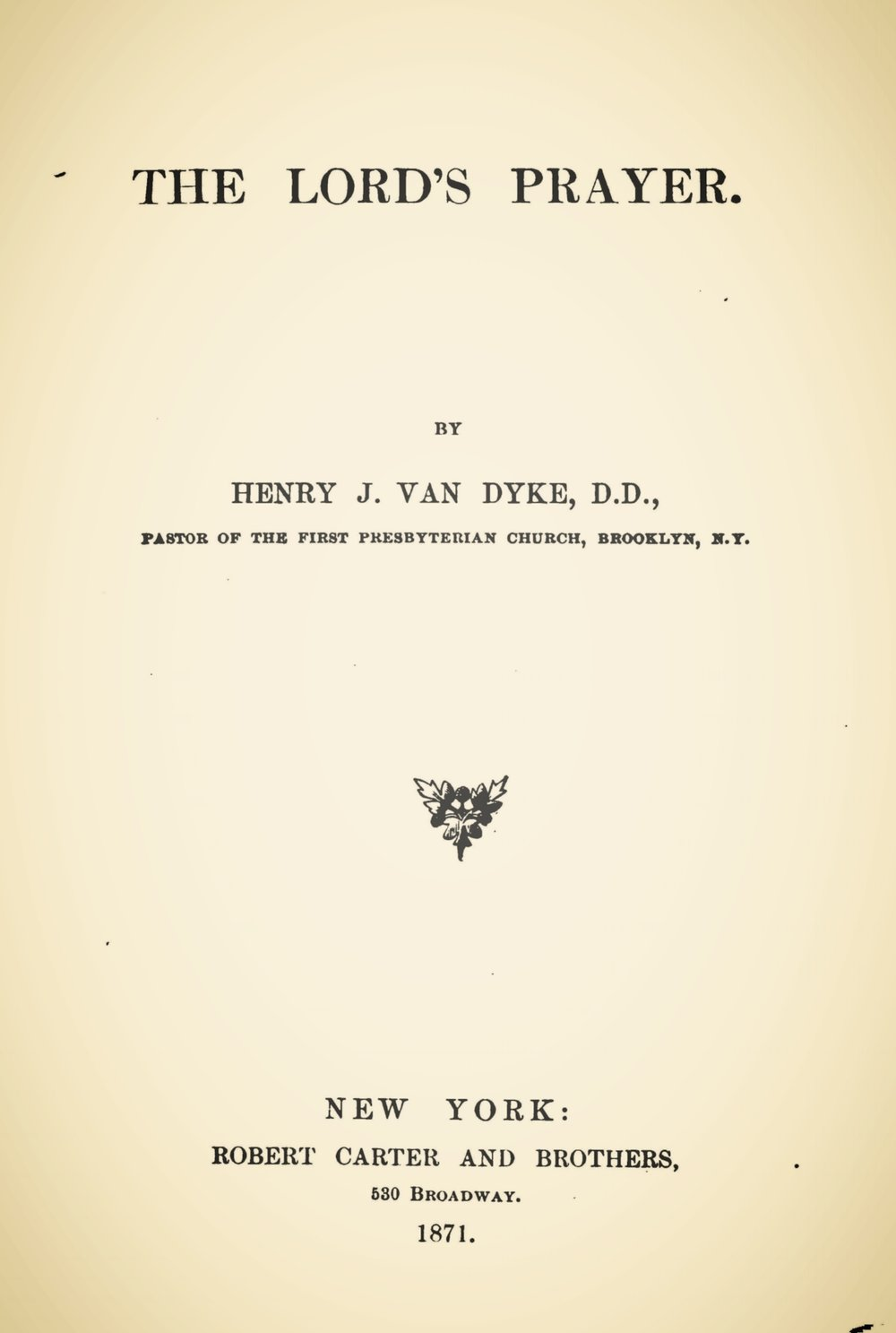 Van Dyke, Sr., Henry Jackson, The Lord's Prayer Title Page.jpg