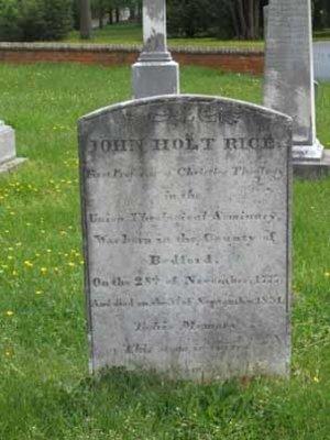 John Holt Rice is buried at Union Theological Seminary Cemetery, Hampden Sydney, Virginia.