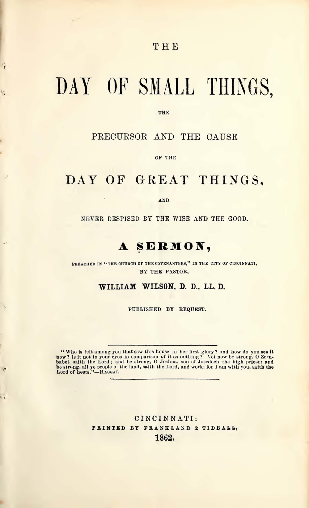 Wilson, William, The Day of Small Things Title Page.jpg