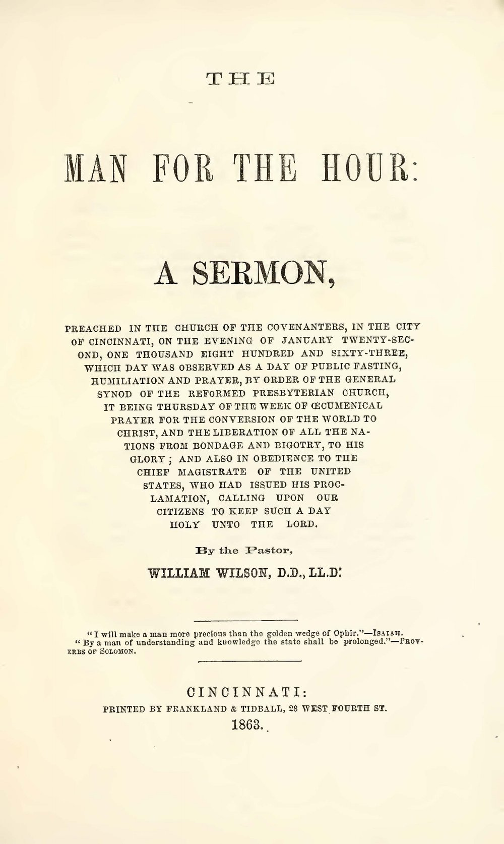 Wilson, William, The Man For the Hour Title Page.jpg
