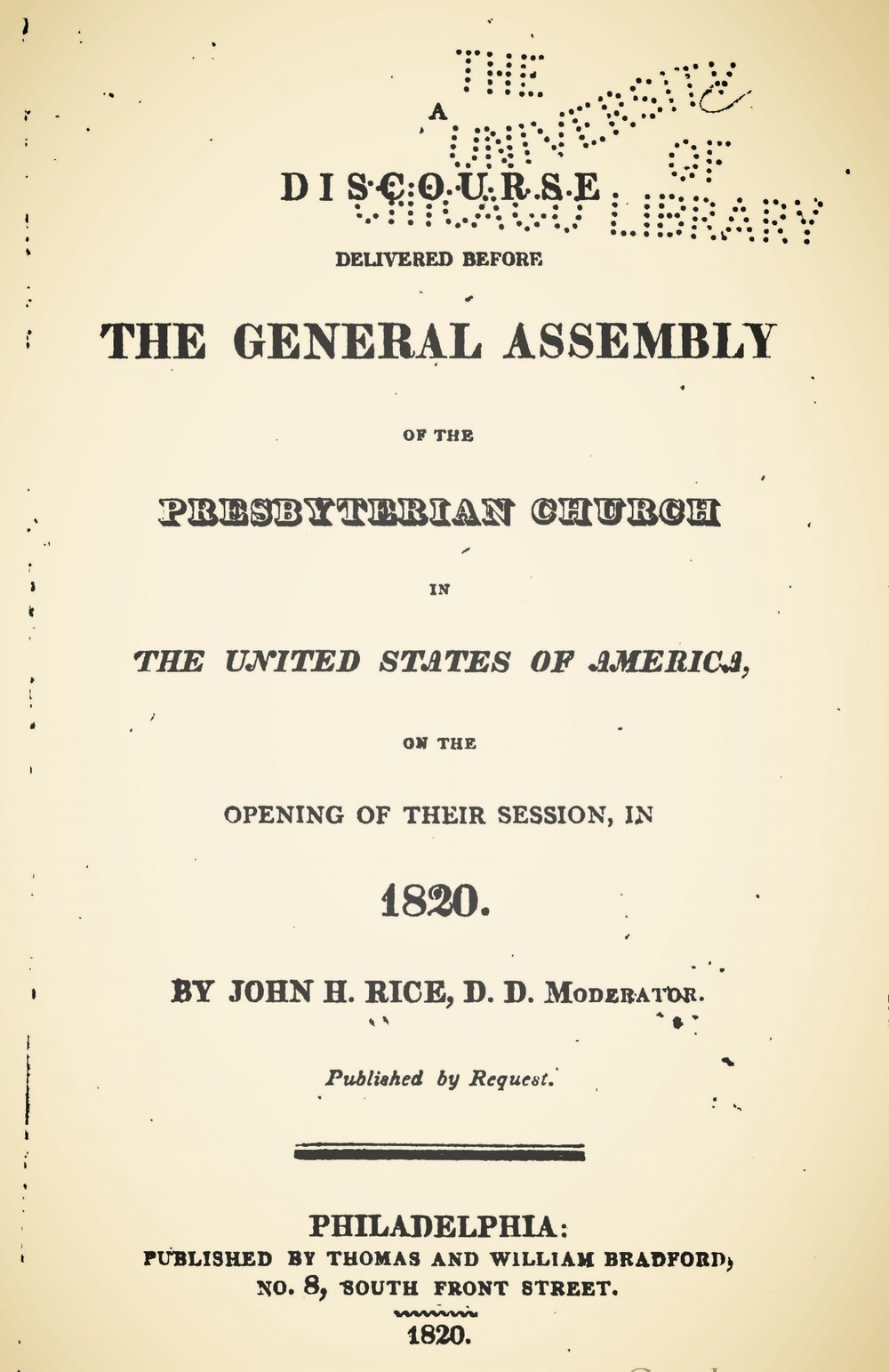 Rice, John Holt, A Discourse Delivered Before the General Assembly Title Page.jpg