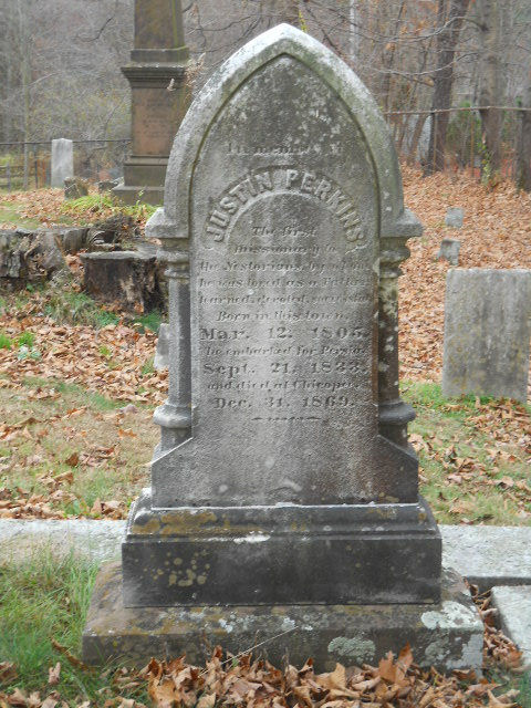Justin Perkins is buried at Rock Valley Cemetery, Holyoke, Massachusetts.