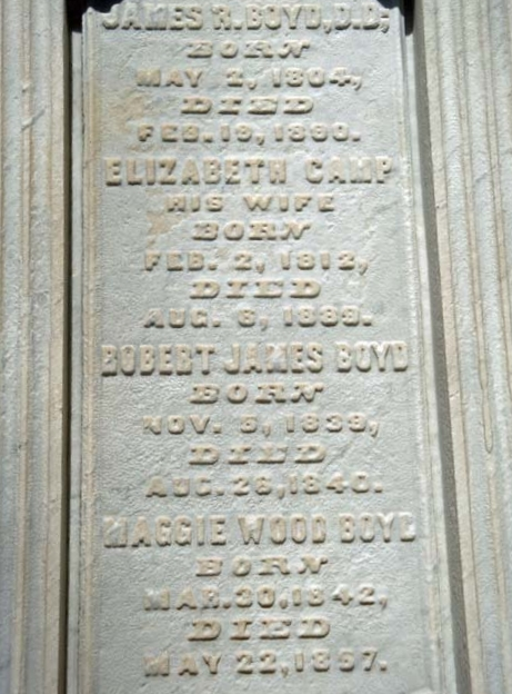James Robert Boyd is buried at Albany Rural Cemetery, Menands, New York.