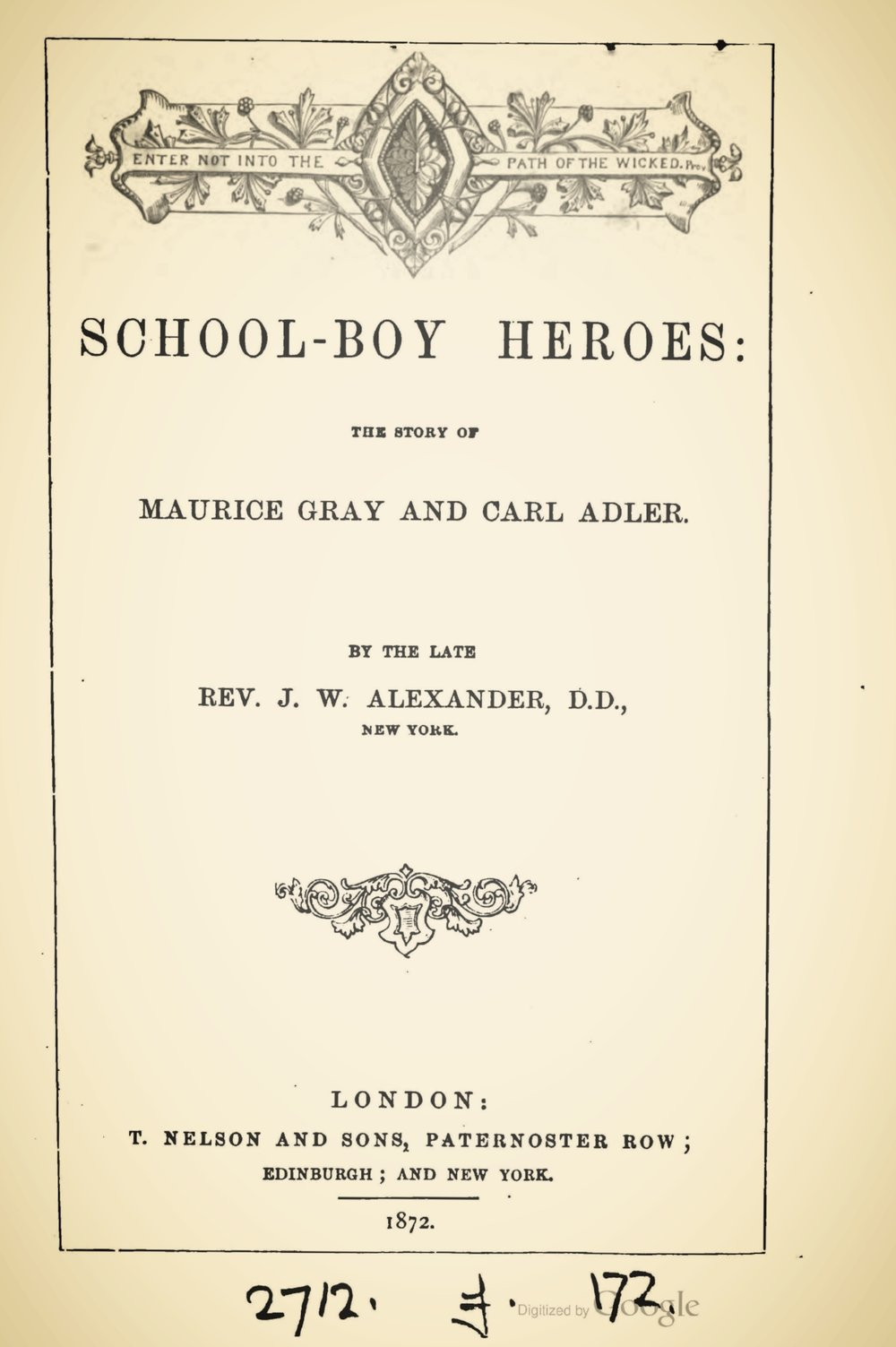 Alexander, James Waddel, School-Boy Heroes Title Page.jpg