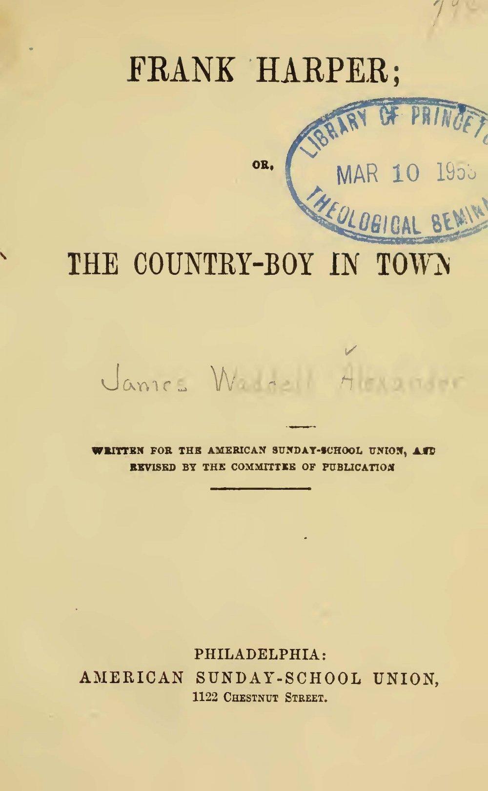 Alexander, James Waddel, Frank Harper Title Page.jpg