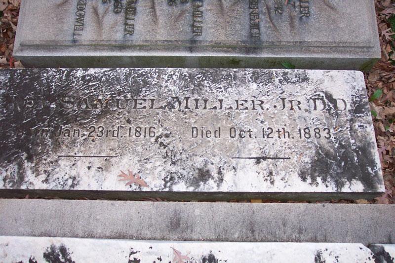 Samuel Miller, Jr. is buried at Princeton Cemetery, Princeton, New Jersey.