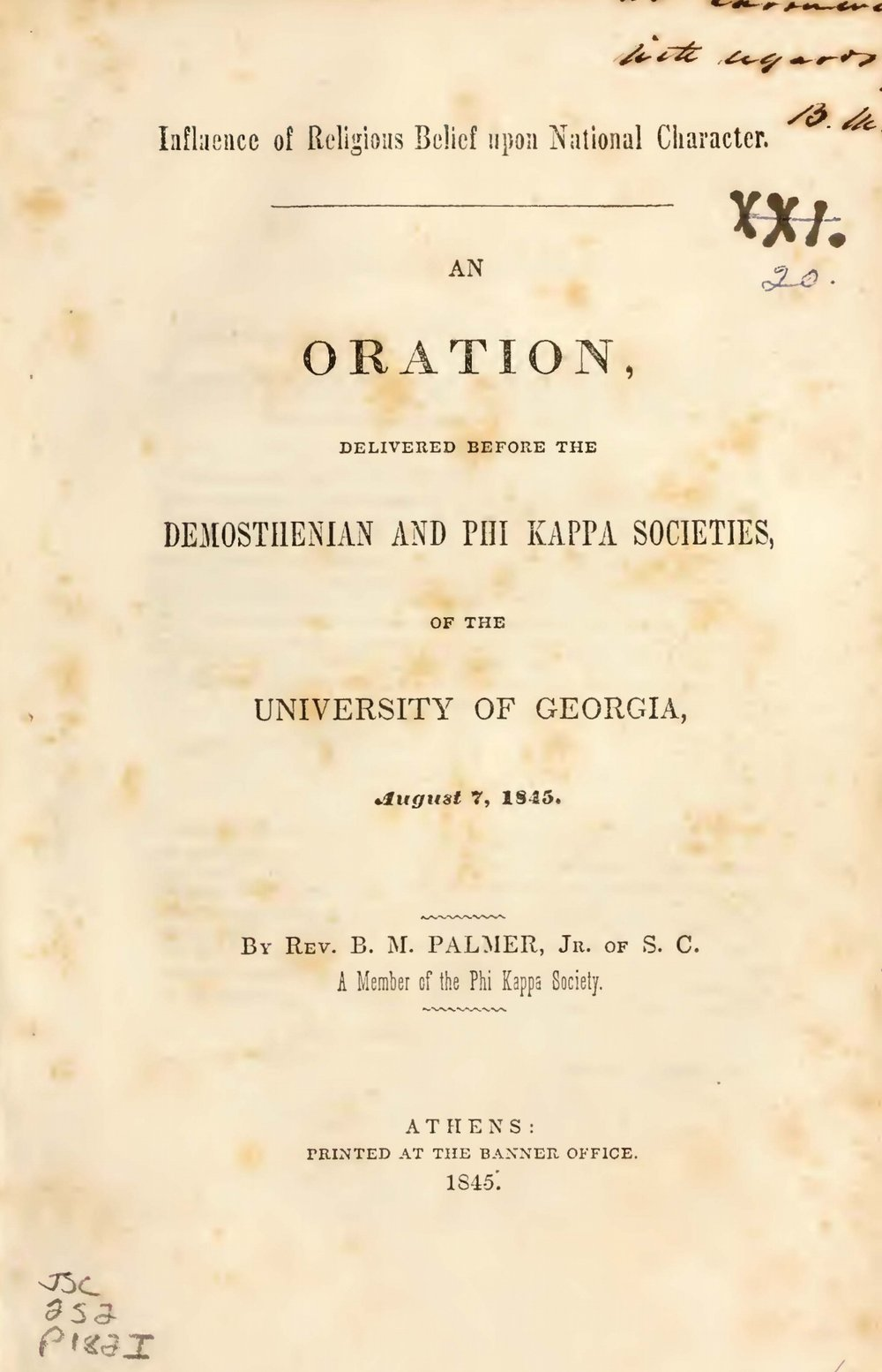 Palmer, Benjamin Morgan, Influence of Religious Belief Upon National Character Title Page.jpg