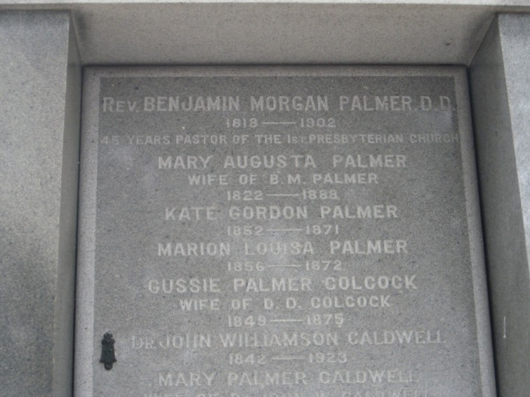Benjamin Morgan Palmer is buried at Metairie Cemetery, New Orleans, Louisiana.