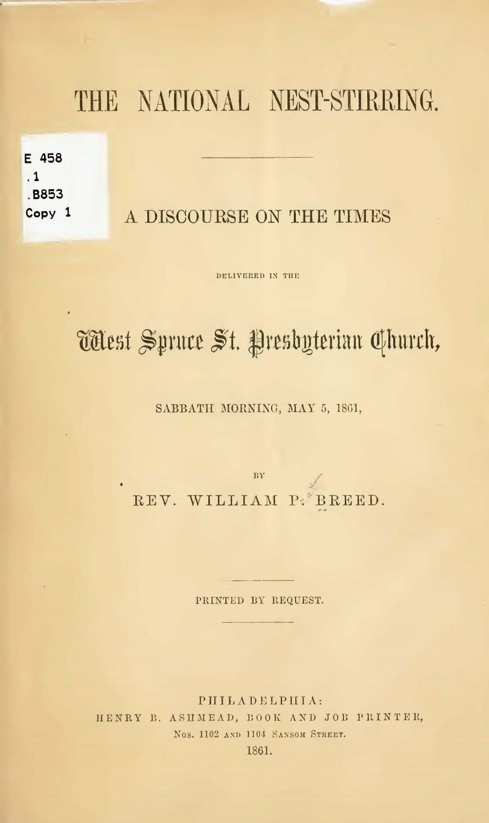 Breed, William Pratt, The National Nest-Stirring Title Page.jpg