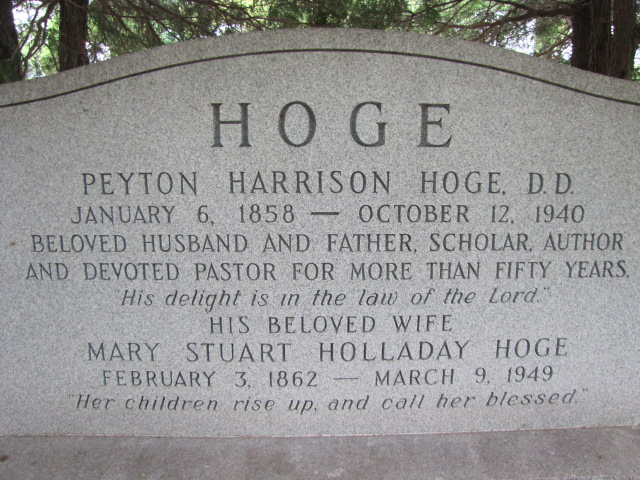 Peyton Harrison Hoge is buried at Cave Hill Cemetery, Louisville, Kentucky.
