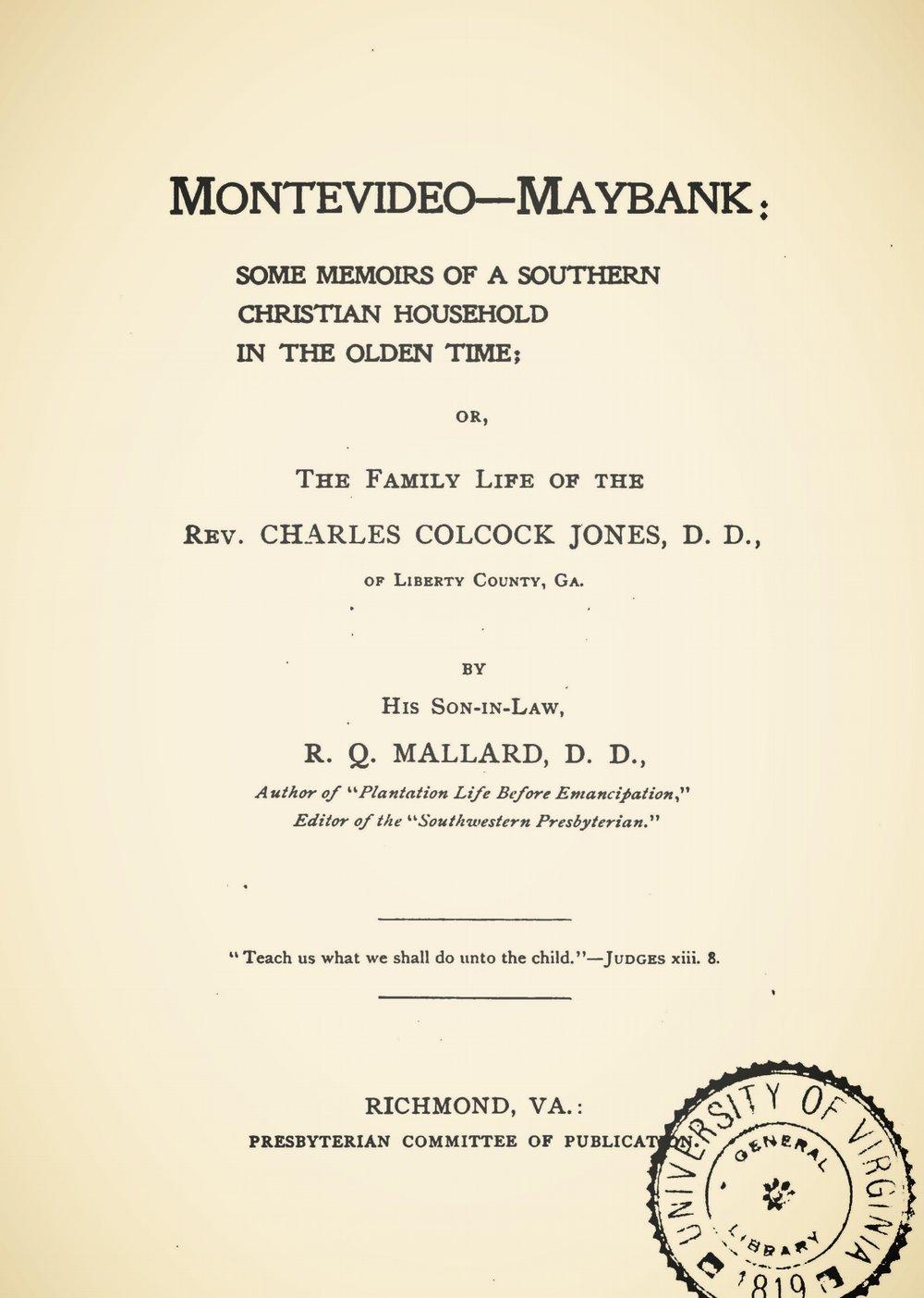 Mallard, Robert Quarterman, Montevideo-Maybank Title Page.jpg