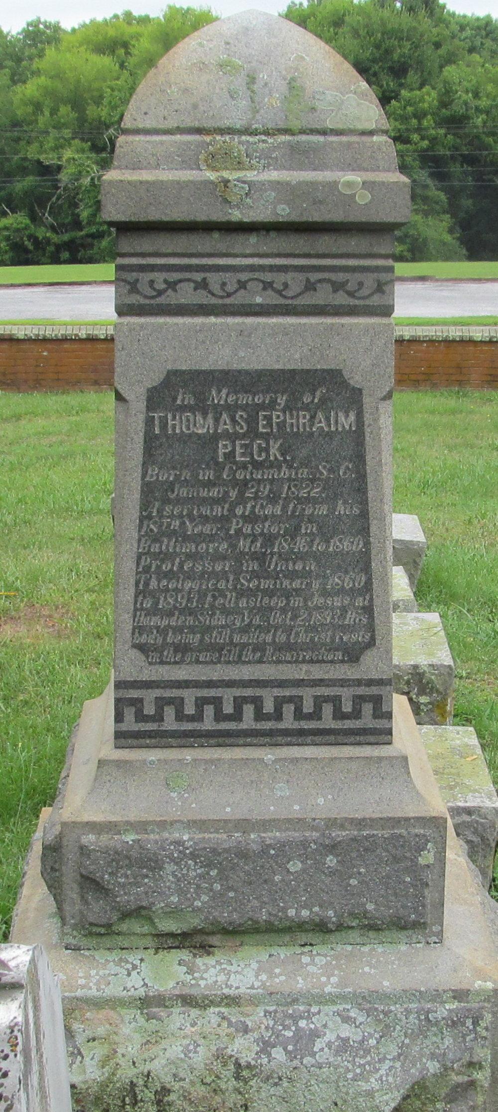 Thomas Ephraim Peck is buried at Union Theological Seminary Cemetery, Hampden Sydney, Virginia.