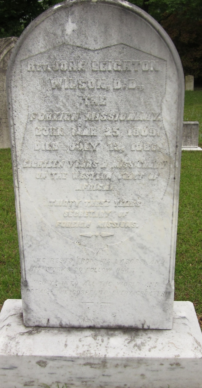 John Leighton Wilson is buried at Mount Zion Presbyterian Cemetery, Bishopville, South Carolina.