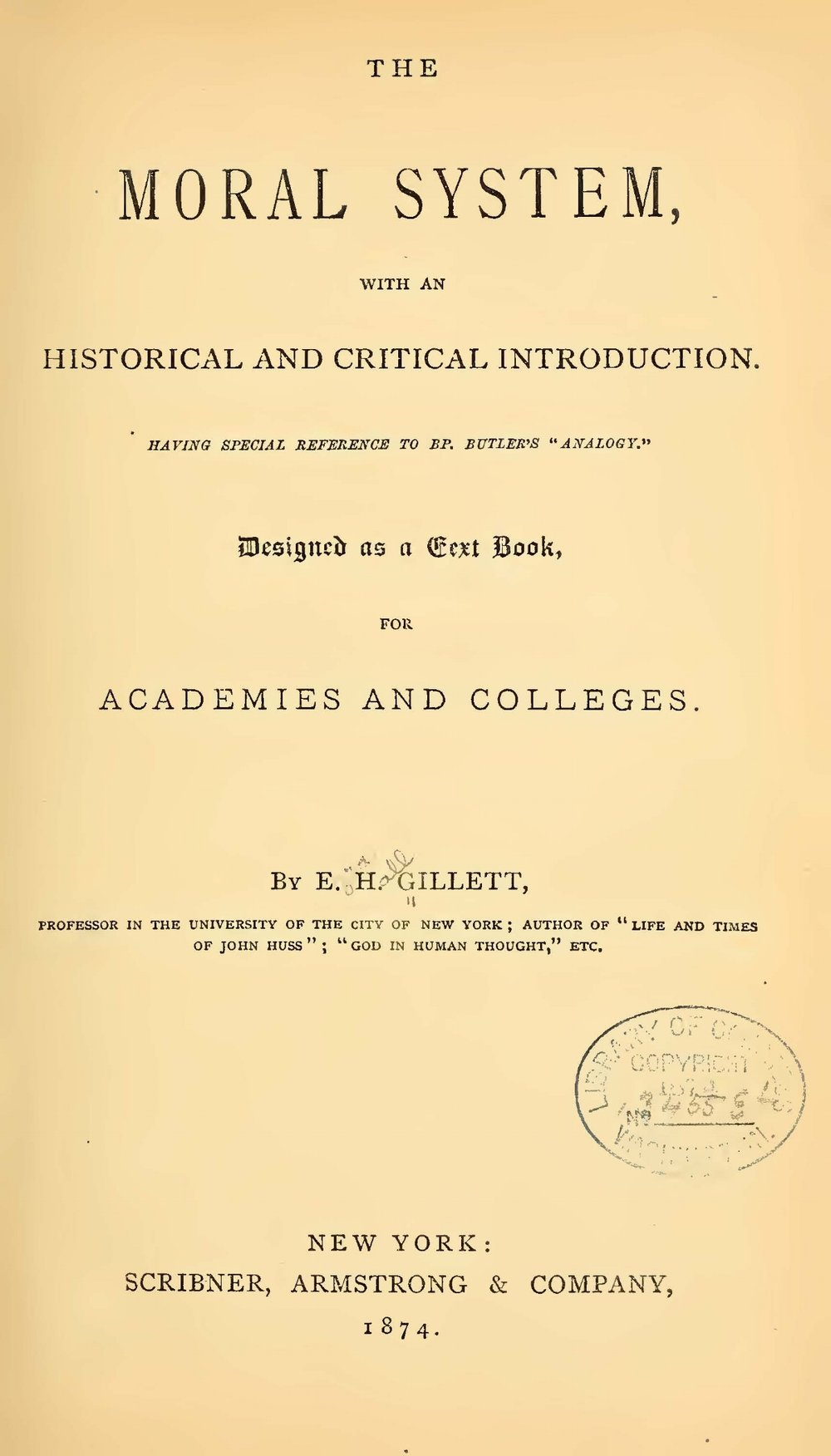 Gillett, Ezra Hall, The Moral System Title Page.jpg