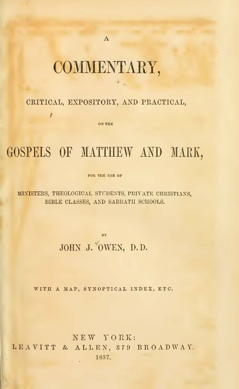 Owen, John Jason, A Commentary on the Gospels of Matthew and Mark Title Page.jpg