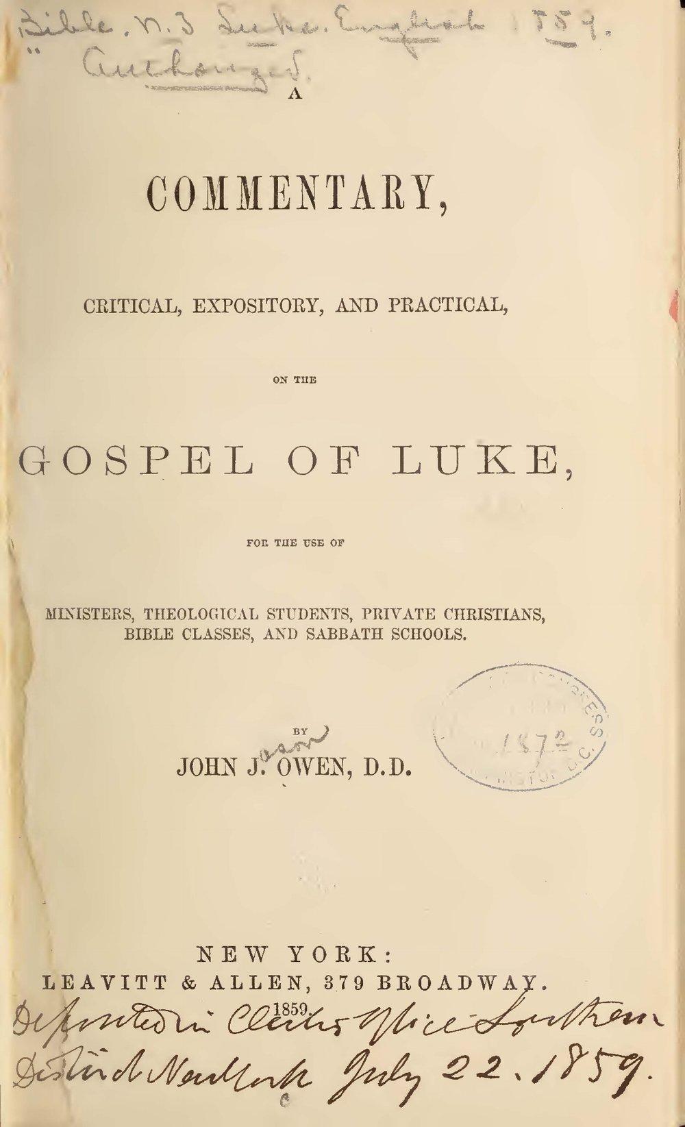 Owen, John Jason, A Commentary on the Gospel of Luke Title Page.jpg