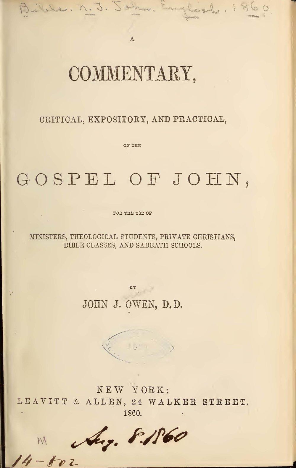 Owen, John Jason, A Commentary on the Gospel of John Title Page.jpg