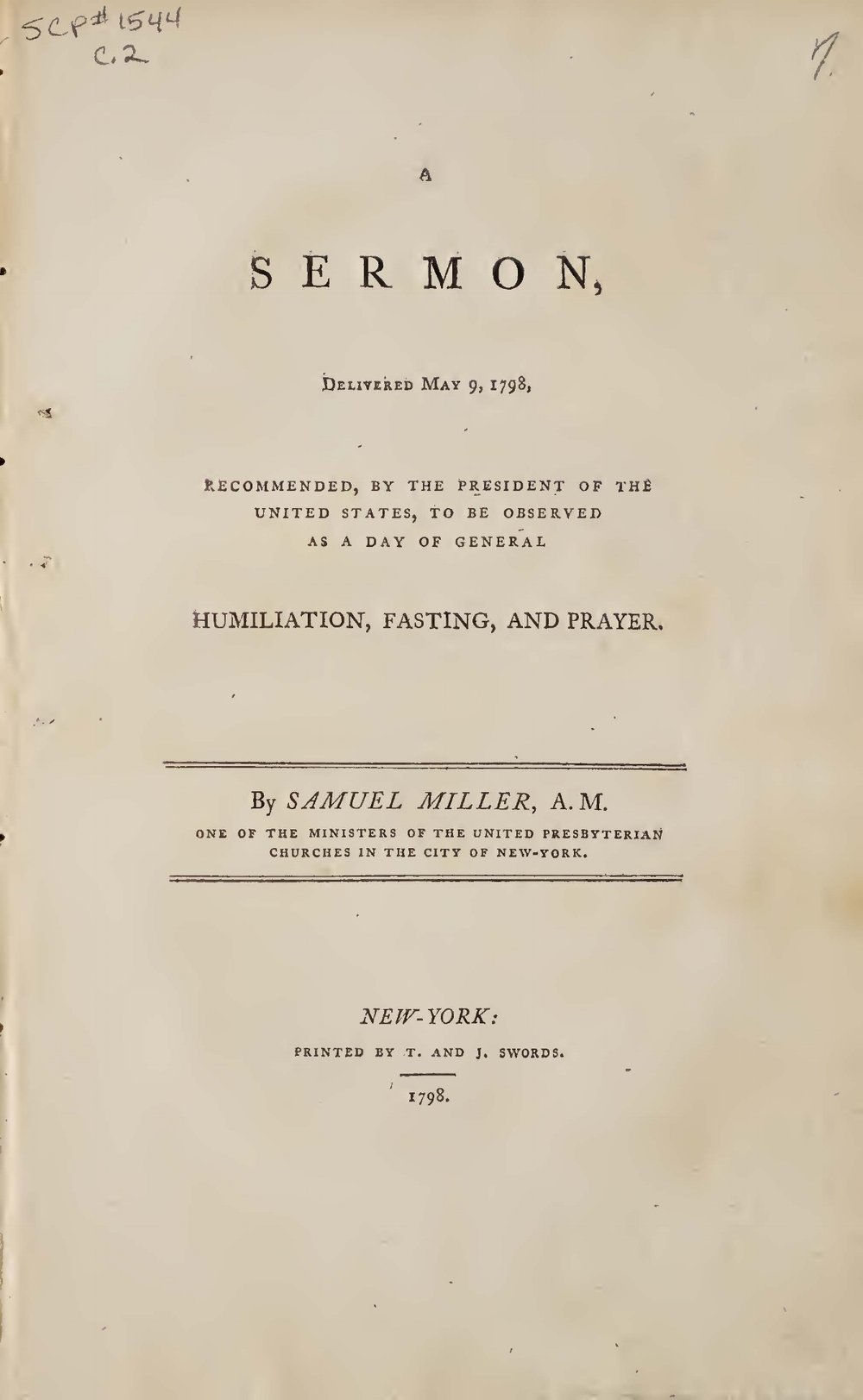 Miller, Samuel, A Sermon Delivered May 9, 1798 Title Page.jpg